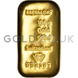 100g Metalor Cast Gold Bar