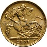 1908 Edward VII Gold Half Sovereign (London Mint)