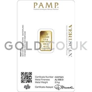 2.5 PAMP Rosa Gold Bar