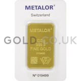100g Metalor Gold Bar