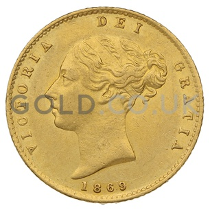 1869 Victoria Young Head Shield Back Gold Half Sovereign (London Mint)