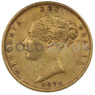 1874 Victoria Young Head Shield Back Gold Half Sovereign (London Mint)