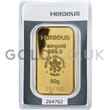 50g Heraeus Gold Bar