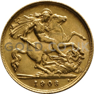 1908 Edward VII Gold Half Sovereign (London Mint)