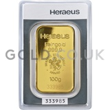 100g Heraeus Gold Bar