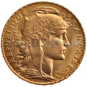 Gold 20 French Franc - Marianne Rooster (Best Value)