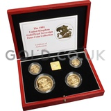 Gold Proof Sovereign Four Coin Boxed Set (1999)