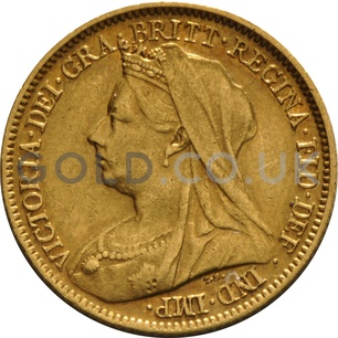 1901 Victoria  Old Head Gold Half Sovereign (London Mint)