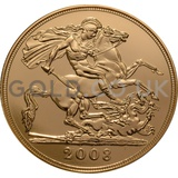 2008 Elizabeth II Fourth Head Gold Quintuple (£5) Sovereign