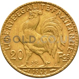 Gold 20 French Francs - Marianne Rooster (1899-1906 Original)