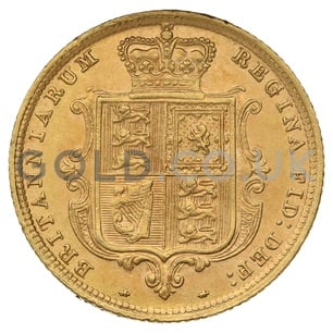 1885 Victoria Young Head Shield Back Gold Half Sovereign (London Mint)