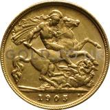 1905 Edward VII Gold Half Sovereign (London Mint)