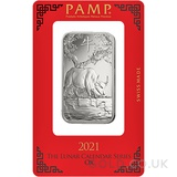 1oz PAMP Silver Year of the Ox (2021)