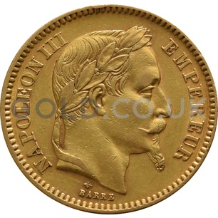 20 French Francs - Napoleon III Laureate Head (Best Value)