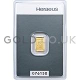 1g Heraeus Gold Bar