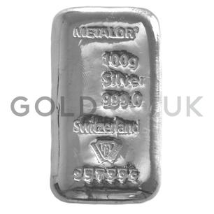 100g Metalor Silver Bar