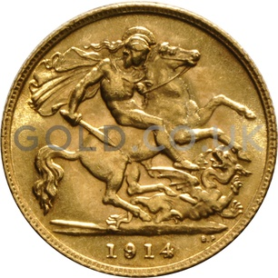 1914 George V Gold Half Sovereign (London Mint)