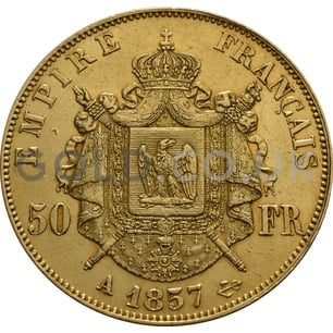 Gold 50 French Francs - Napoleon III Bare Head (Best Value)