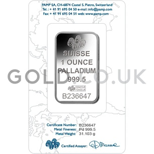 1oz Palladium Bar