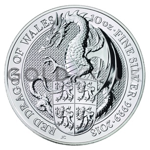 Boxed 10oz Silver Coin - The Red Dragon (2018)