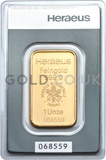 1oz Heraeus Gold Bar