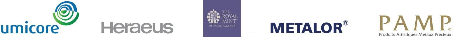 Metal brands: Umicore, Heraeus, The Royal Mint, Metalor, PAMP
